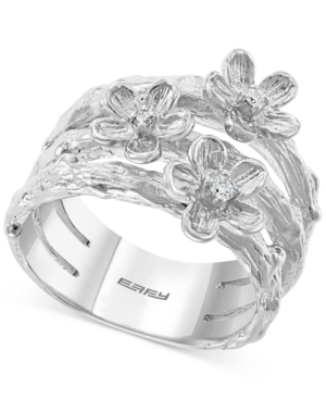 Effy Diamond Flower Stack-Look Statement Ring (1/20 ct. t.w.) in Sterling Silver