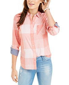 Cotton Plaid Button-Down Top