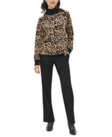 Leopard-Print Mock-Neck Sweater