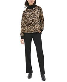Calvin Klein Leopard-Print Mock-Neck Sweater