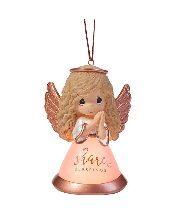 Ne'Qwa Precious Moments Share Blessings Resin And Glass LED Angel Ornament