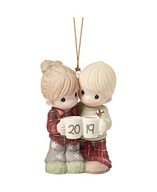 Precious Moments Our First Christmas Together Couple With Mugs Dated 2019 Bisque Porcelain Christmas Ornament