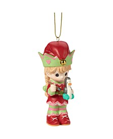Precious Moments Paint Your Christmas With Love 4th Annual Elf With Toy Penguin Christmas Ornament