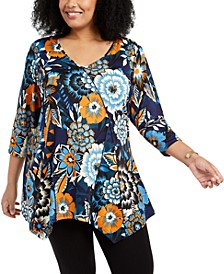 Plus Size Printed Handkerchief-Hem Top