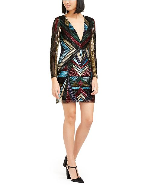 Aidan by Aidan Mattox Sequined Sheath Dress