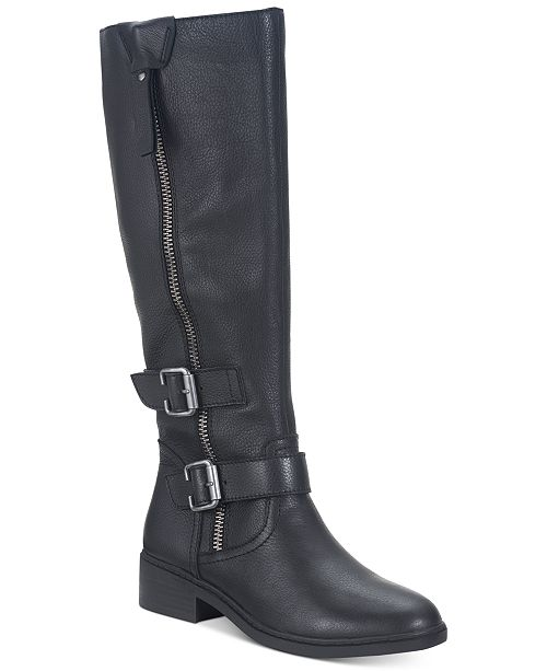 American Rag Collins Leather Buckled Boots, Created For Macy's