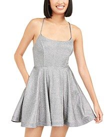 Juniors' Shimmer Lace-Back Dress, Created for Macy's