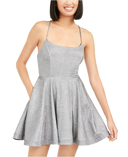 Speechless Juniors' Shimmer Lace-Back Dress, Created for Macy's