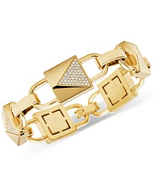 Gold-Tone Sterling Silver Cubic Zirconia Large Link Bracelet