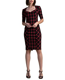 Plaid Sweetheart-Neck Dress
