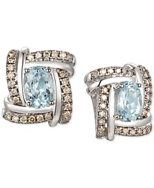 Sea Blue Aquamarine (1-1/4 ct. t.w.) & Chocolate Diamond (3/8 ct. t.w.) Stud Earrings in 14k White Gold