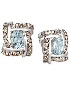 Sea Blue Aquamarine (1-1/4 ct. t.w.) & Chocolate Diamond (3/8 ct. t.w.) Stud Earrings in 14k White Gold