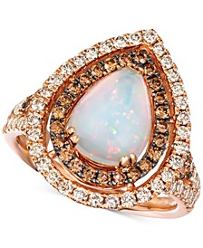 Neopolitan Opal (1-1/3 ct. t.w.) & Diamond (1-1/20 ct. t.w.) Ring in 14k Rose Gold