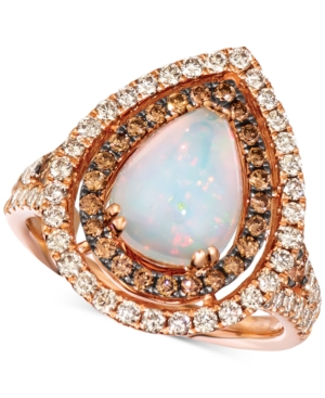 Neopolitan Opal (1-1/3 ct. t.w.) & Diamond (1-1/20 ct. t.w.) Pear Double Halo Ring in 14k Rose Gold