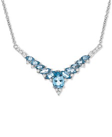 "Blue Topaz (2-5/8 ct. t.w.) & White Topaz (3/8 ct t.w.) Fancy 17"" Statement Necklace in Sterling Silver"