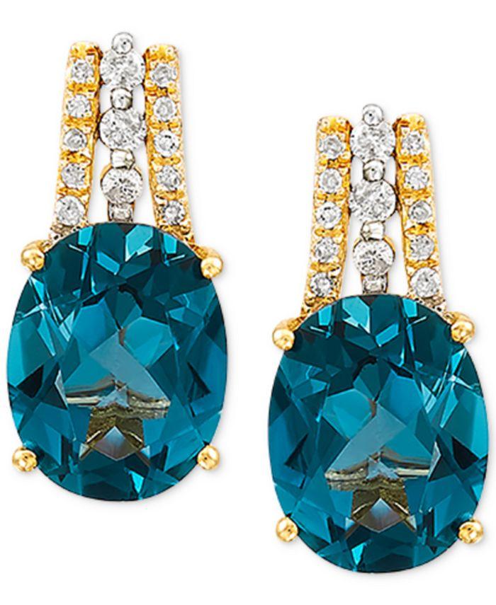 Macy's - London Blue Topaz (4-3/8 ct. t.w.) & Diamond (1/10 ct. t.w.) Drop Earrings in 14k Gold