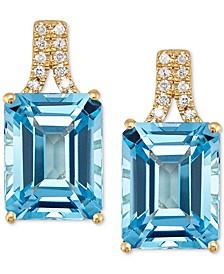 Swiss Blue Topaz (5-5/8 ct. t.w.) & Diamond (1/20 ct. t.w.) Drop Earrings in 14k Gold