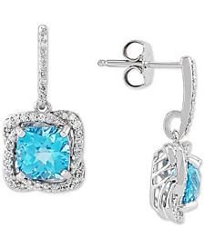 Swiss Blue Topaz (3-3/8 ct. t.w.) & Diamond (3/8 ct. t.w.) Drop Earrings in Sterling Silver