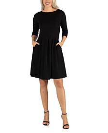Women's Knee Length Fit and Flare Dress with Pockets