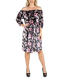 Women's Floral Off Shoulder Knee Length Velvet Dress