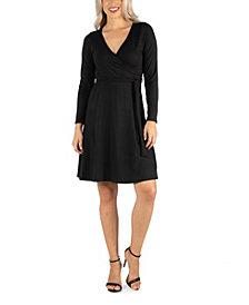 24seven Comfort Apparel Women's Knee Length Long Sleeve Wrap Dress