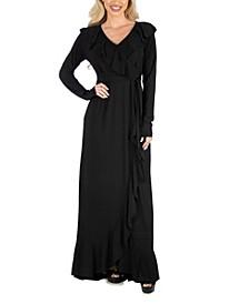 Women's Ruffle Neckline Long Sleeve Maxi Dress