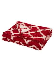 Glitzhome Knitted Reversible Eyelash Yarn Throw Blanket
