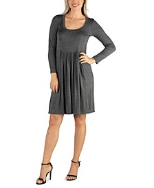 Women's Knee Length Pleated Long Sleeve Dress