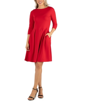24seven Comfort Apparel Womens Knee Length Fit and Flare Dress with Pockets