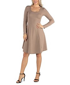 Women's Simple Long Sleeve Knee Length Flared Dress