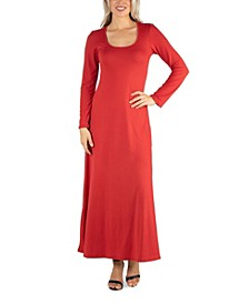Women's Long Sleeve T-Shirt Maxi Dress