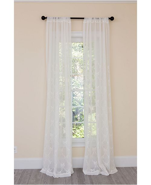 Manor Luxe Belinda Embroidered Sheer Rod Pocket Curtain Collection