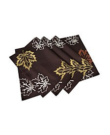"""Rustic Autumn Embroidered Fall Placemats, 14"""" x 20"""", Set of 4"""