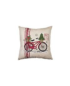 "Noel Bike Square Christmas Pillow, 18"" x 18"""