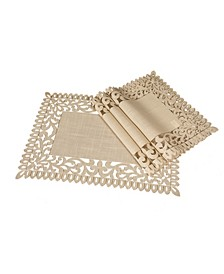 "Vine Embroidered Cutwork Placemats, 14"" x 20"", Set of 4"