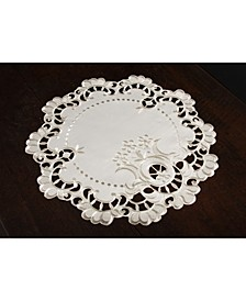 """Scalloped Lace Embroidered Cutwork Round Placemats, 15"""" Round, Set of 4"""