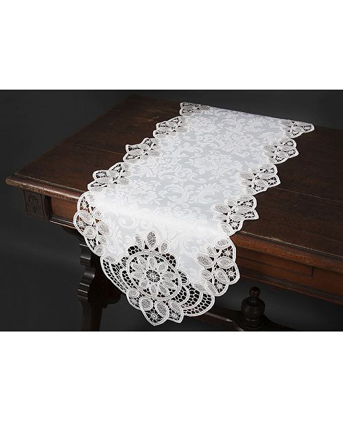 "Xia Home Fashions Antebella Lace Embroidered Cutwork Table Runner, 15"" x 34"""