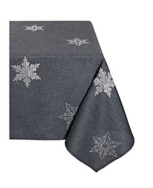 "Glisten Snowflake Embroidered Christmas Tablecloth, 60"" x 84"""