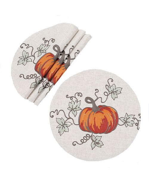 Manor Luxe Rustic Pumpkin Crewel Embroidered Fall Placemats, Set of 4