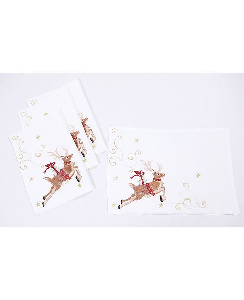 """Manor Luxe Reindeer with Gifts Embroidered Christmas Placemats 14"""" x 20"""", Set of 4"""