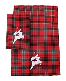 "Applique Reindeers on Tartan Plaid Christmas Decorative Towels 14"" x 22"", Set of 2"