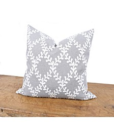 Piluki Leaf Crewel Embroidered Pillow with Feather Insert