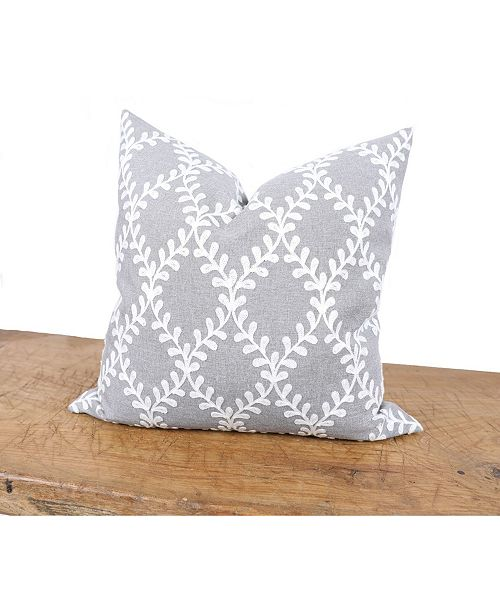 Manor Luxe Piluki Leaf Crewel Embroidered Pillow with Feather Insert