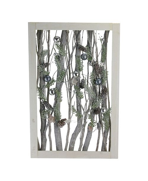 """Northlight Decorated Standing Birch Branches in Wood Frame Table or Wall Decoration, 22.5"""" x 2.25"""""""