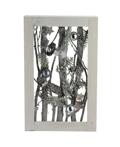"""Northlight Decorated Standing Birch Branches in Wood Frame Table or Wall Decoration, 9.25"""" x 2.25"""""""