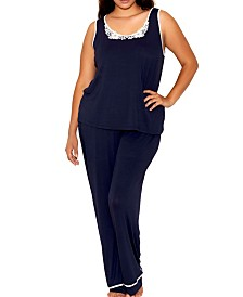 iCollection Plus Size Contrast Lace and Modal Comfy Sleep and Lounge Set