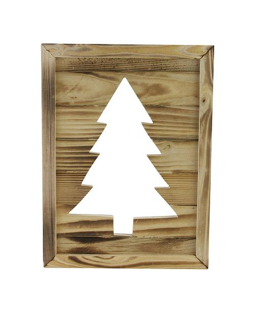 """Northlight Framed Wood Christmas Tree-Out Wall Hanging Decoration, 13.75"""" x 1"""""""