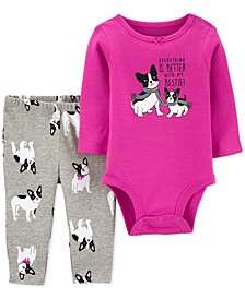 Baby Girls 2-Pc. French Bulldog Bodysuit & Printed Pants Cotton Set