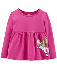 Baby Girls Pegasus-Print Cotton Top