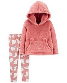 Baby Girls 2-Pc. Faux-Fur Bear Hoodie & Bear-Print Leggings Set